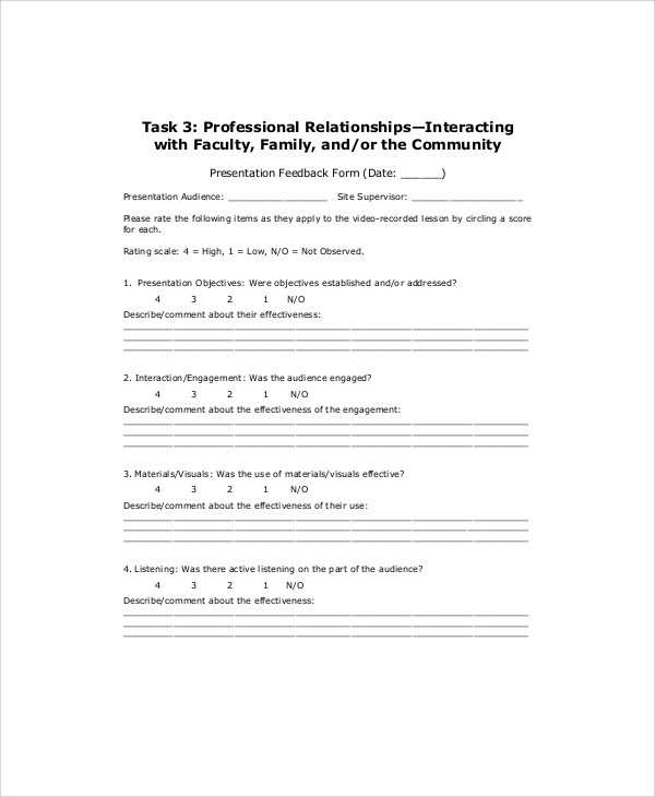 Sample Presentation Feedback Form 10 Examples in Word PDF – Presentation Feedback Form