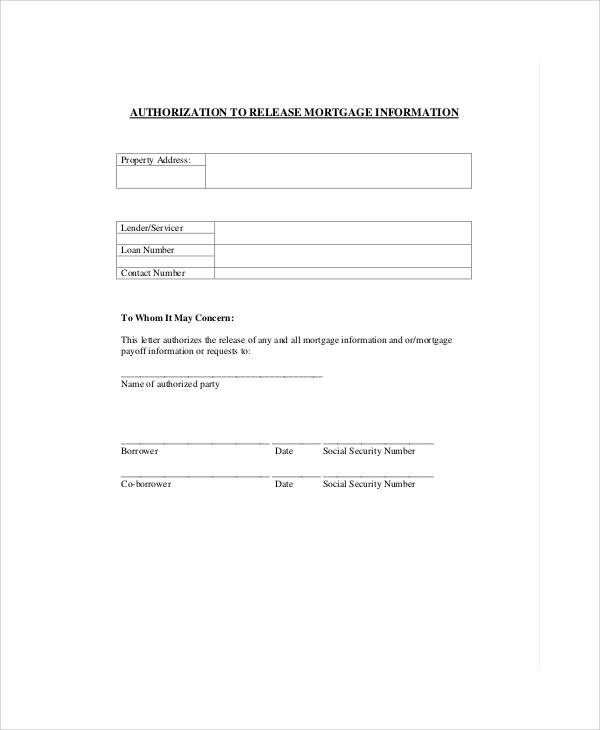 mortgage information release form
