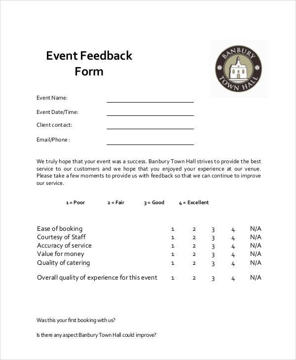 Sample Event Feedback Form   Examples In Word Pdf