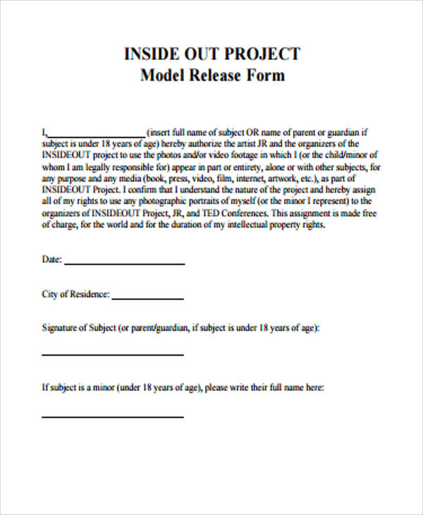 project model release form