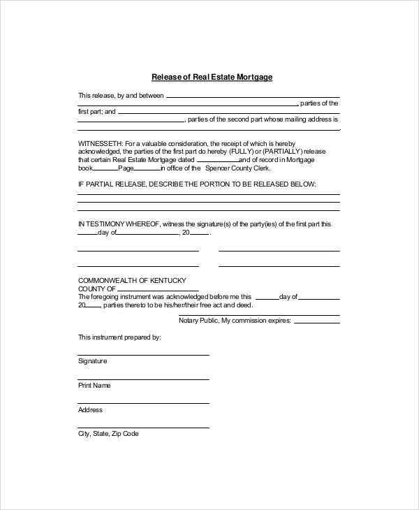 Sample Mortgage Release Form 7 Examples in Word PDF – Release of Mortgage Form