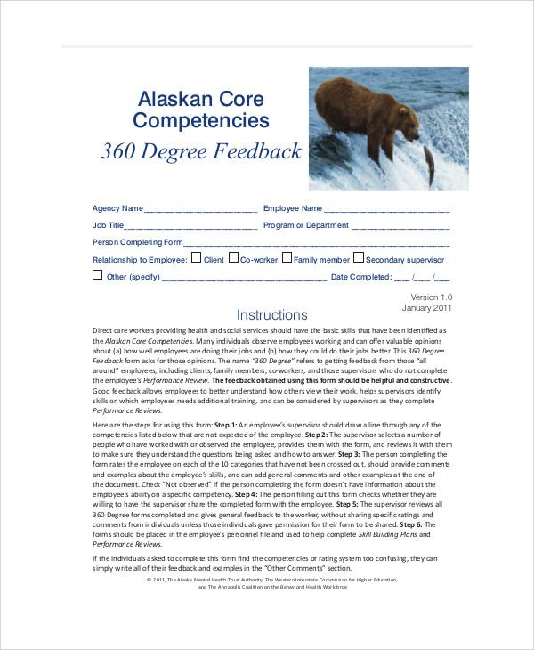sample 360-degree feedback form