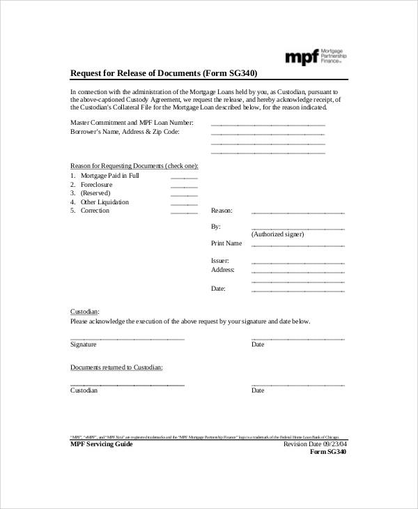 Sample Mortgage Release Form   Examples In Word Pdf