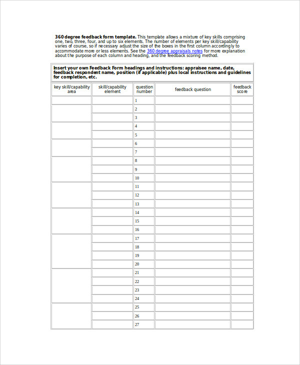 Sample Degree Feedback Form   Examples In Word Pdf