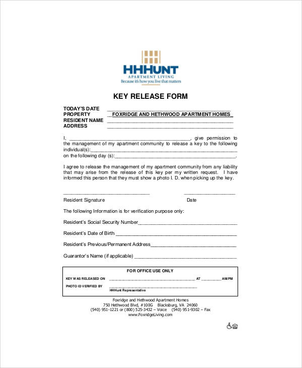 apartment key release form pdf