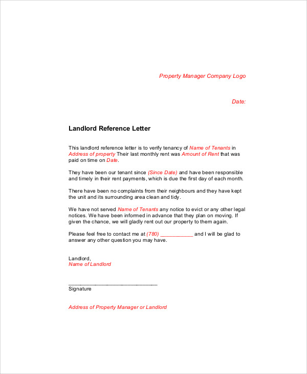 Sample Landlord Recommendation Letter 7 Examples in Word PDF – Reference Letter from Employer for Rental