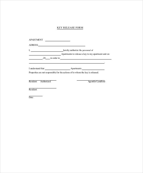 sample key release form