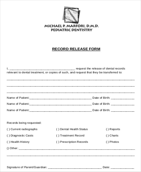 sample dental records release form examples in word pdf - Sample Medical Records Release Form