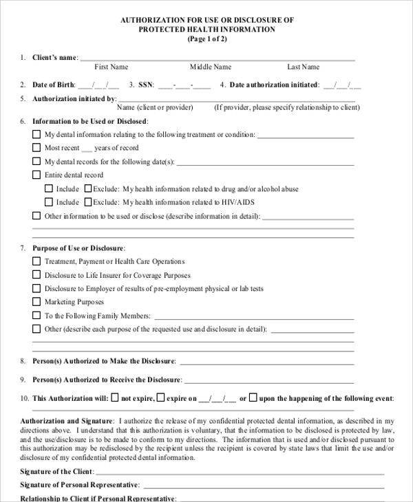8+ Sample Medical Authorization Release Forms | Sample U2026