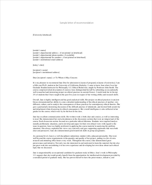 sample landlord recommendation letter