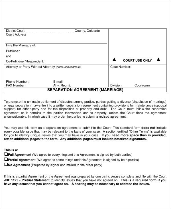 sample agreement form