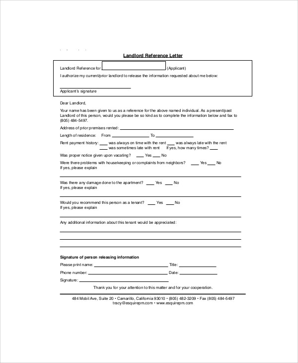 example of landlord recommendation letter