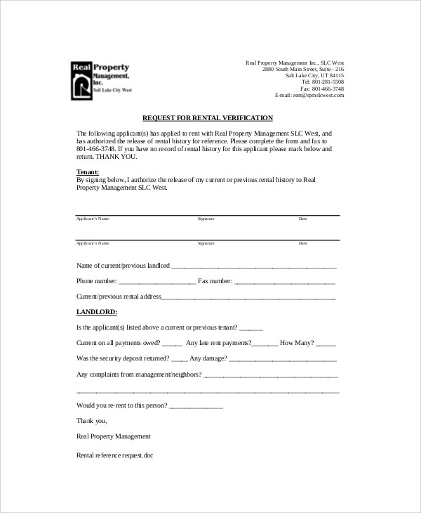 Rental Request Reference Letter From Landlord