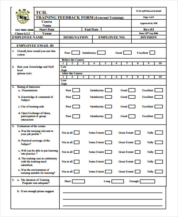 Sample Training Feedback Form   Examples In Word Pdf