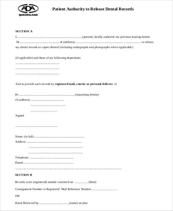 Sample Dental Records Release Form   Examples In Word Pdf