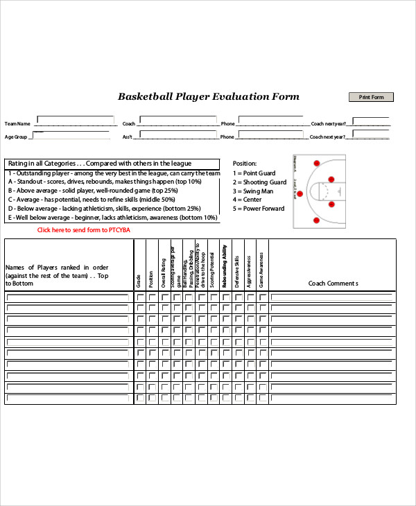 Sample Basketball Evaluation Form   Examples In Word Pdf