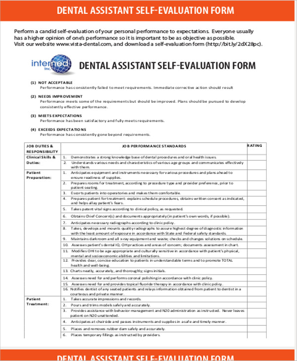 Dental-istant-Job-Evaluation-Form Dental Istant Job Description Application Form on