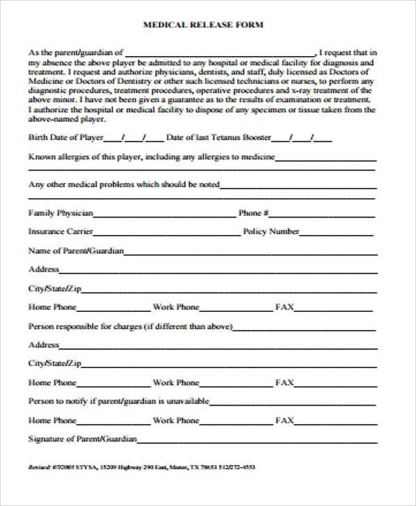 sample medical release form1