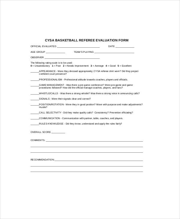basketball referee evaluation form