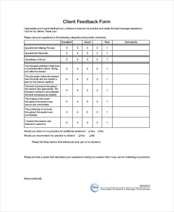 Sample Client Feedback Form   Examples In Word Pdf