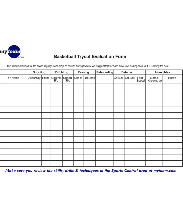 Basketball Tryout Evaluation Form  CanelovssmithliveCo