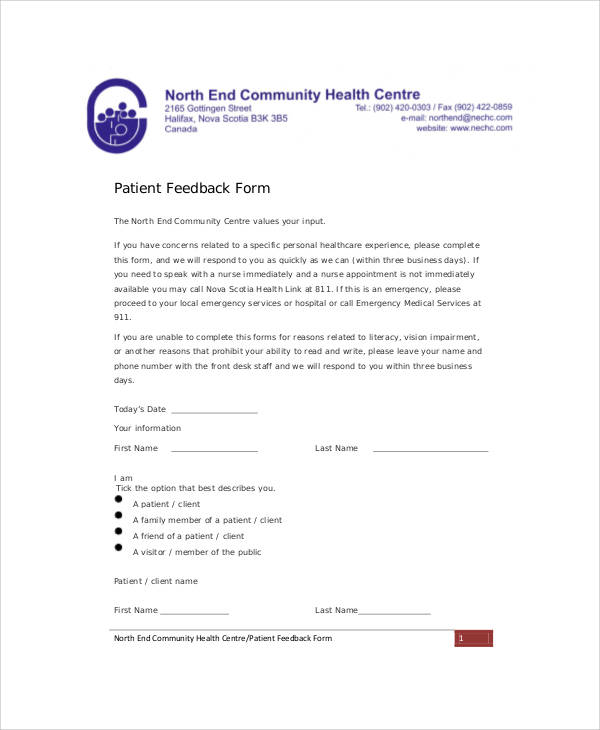 Patient Feedback Form Example