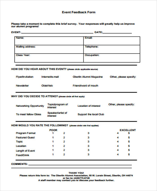 Free Sample Feedback Form   Examples In Word Pdf