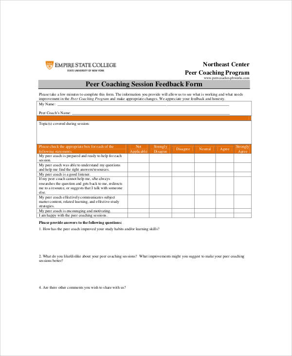 Sample Coach Feedback Form   Examples In Word Pdf