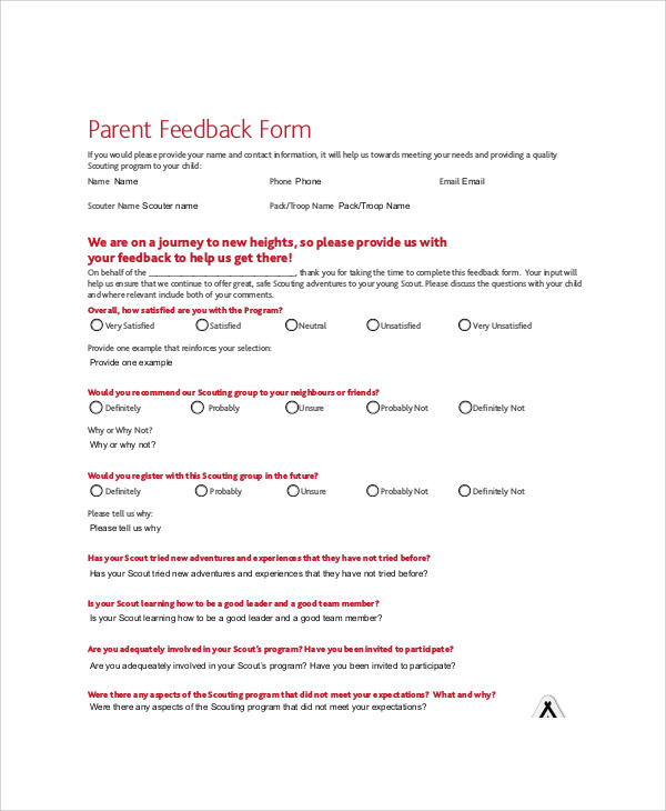 parents meeting feedback form