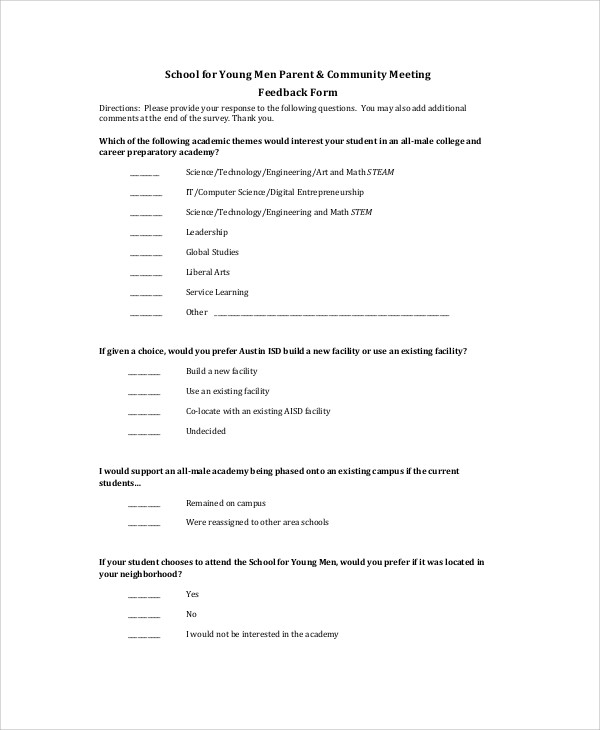 Sample Meeting Feedback Form   Examples In Word Pdf