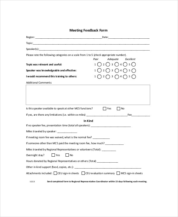 Sample Meeting Feedback Form 9 Examples in Word PDF – Speaker Feedback Form