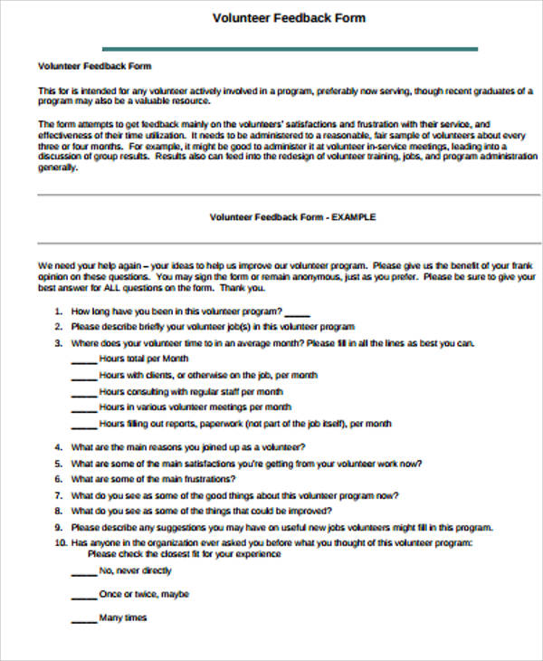 Free Sample Feedback Form 12 Examples in Word PDF – Meeting Feedback Form Template