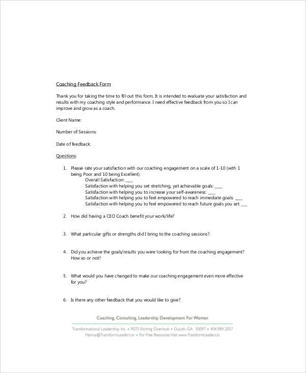 executive coach feedback form