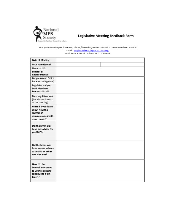legislative meeting feedback form