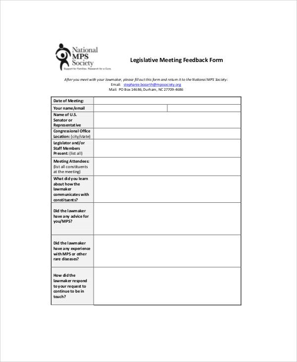Sample Meeting Feedback Form 9 Examples in Word PDF – Meeting Feedback Form