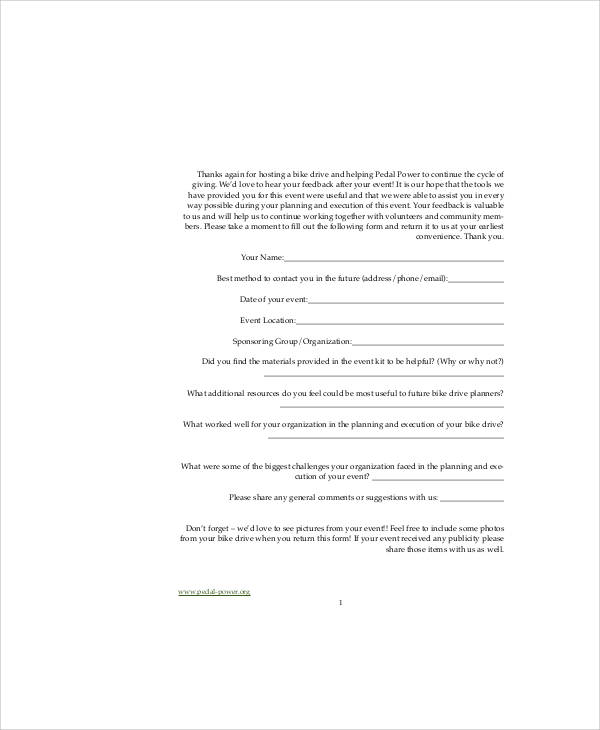 Sample Event Feedback Form in PDF 8 Examples in PDF – Event Feedback Form