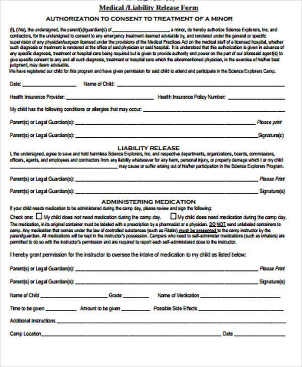 sample general liability release form