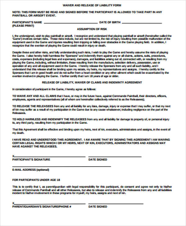 Sample General Liability Release Form 7 Examples in Word PDF – Simple Liability Waiver