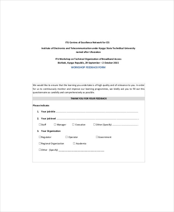 Workshop-Feedback-Form-Example Teacher Feedback Form Examples on