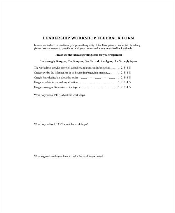 leadership workshop feedback form