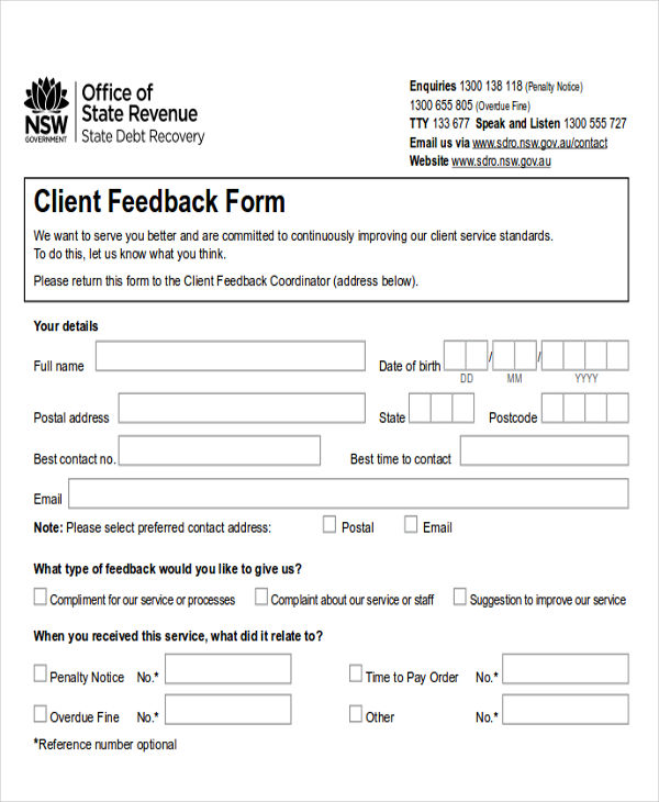 Free 8 Sample Client Feedback Forms In Ms Word