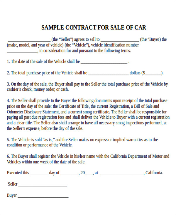 Sample Used Car Sale Contract 5 Examples in Word PDF – Used Car Sales Contract Template