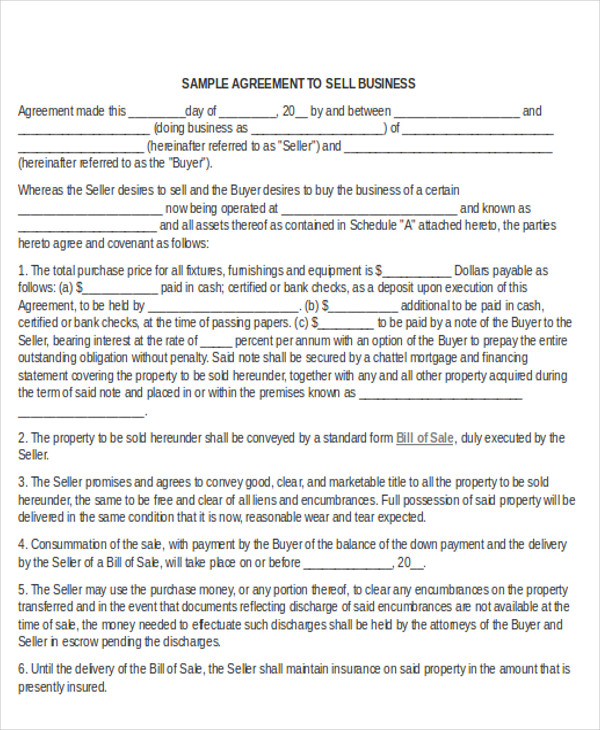 Sale Of Business Agreement Business Sale Agreement Template