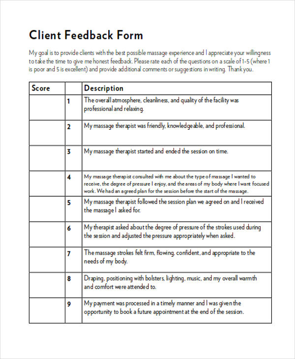 Sample Client Feedback Form In Word   Examples In Word
