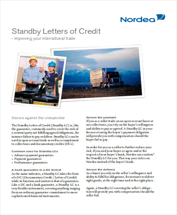 standby letter of credit sample