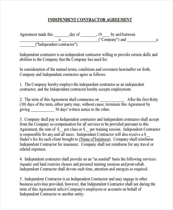 independent contractor agreement form