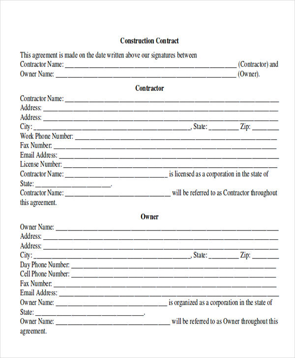 construction contractor form pdf
