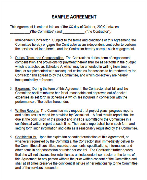 contractor service agreement example
