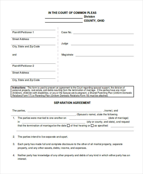 Sample Separation Agreement  Free Sample Example Format Download
