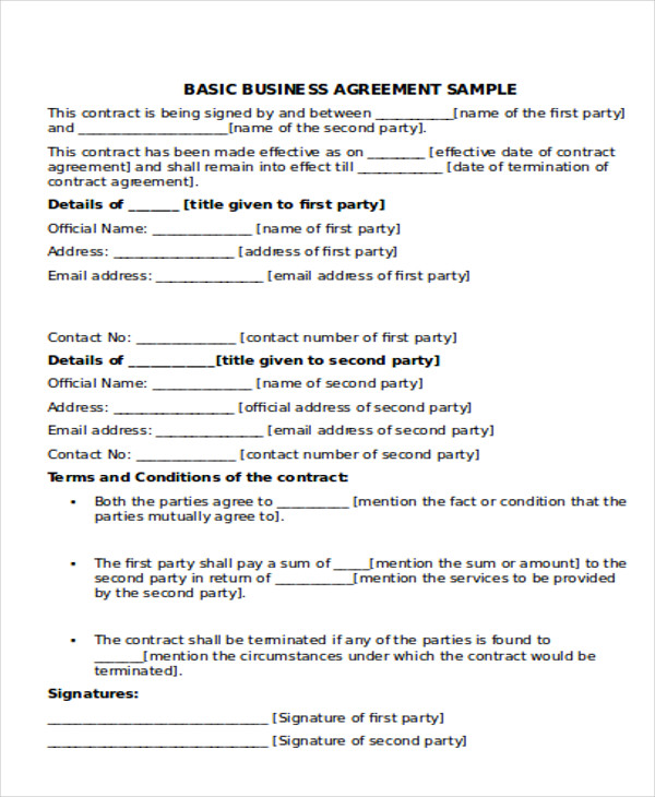 9+ Business Agreement Samples | Sample Templates